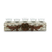Wooden and Glass 5 Votive Holder with Metal Flower Décor