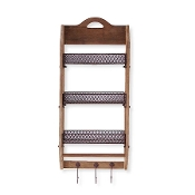 Wood Wall Shelf with 3 wire shelves and Hooks