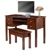 Emmett 2-pc Writing Desk with Storage Bench Set