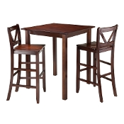 Parkland 3-Pc High Table with 2 Bar V-Back Stools