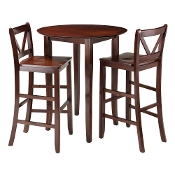 Fiona 3-Pc High Round Table with 2 Bar V-Back Stool