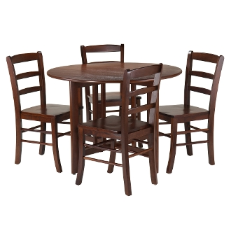 Alamo 5-Pc Round Drop Leaf Table with 4 Ladder Back