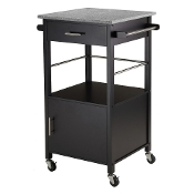 Davenport Kitchen Cart with Granite Top Black