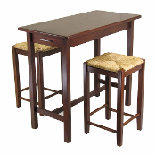 3-Pc Kitchen Island Table with 2 Rush Seat Stools; 2 cartons