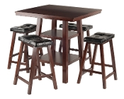 Orlando 3-Pc Set High Table, 2 Shelves w/ 4 Cushion Seat Stools