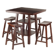 Orlando 5-Pc Set High Table, 2 Shelves w/ 4 Saddle Seat Stools