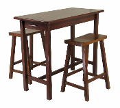 3-Pc Kitchen Island Set; Table with 2 Drawers and Saddle Stools