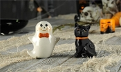 Chalk Talk Ceramic Salt & Pepper Shakers 2pc. Set, (Cat/Ghost)