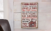 Canvas Holiday Design Wall Decor (Cabin Rules)