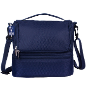 Rip-Stop Blue Double Decker Lunch Bag