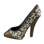 Snow Leopard Print High Heel Shoe Wine Bottle Holder