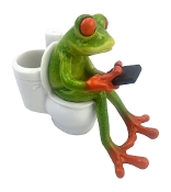 Novelty Frog Figurine Texting on Toilet