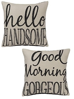 Couple Pillows, Good Morning Gorgeous, Hello Handsome, 2 Set