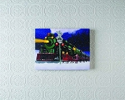 Lighted Winter Christmas Train Stretched Canvas
