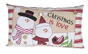 Holiday Stitches Decorative Snowman Throw Pilllow
