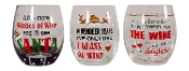 Wine Lovers Holiday Stemless Wine Glasses, Set of Thee
