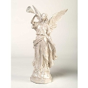 White Glitter Angel With Trumpet