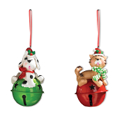 Cat and Dog Bell Christmas Tree Ornaments
