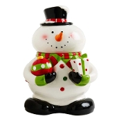 Ceramic Snowman Cookie Jar With Magnetic Salt and Pepper Shakers