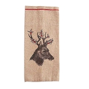 Linen Wine Bottle Bag with Deer Motif with Holly Antlers