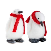 12 Inch Red Scarfed Decorative Penguins