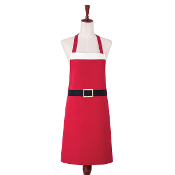 Bright Red Santa Design Kitchen Apron
