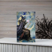 Vertical Lighted Canvas Art Print of Witch w/ Broomstick