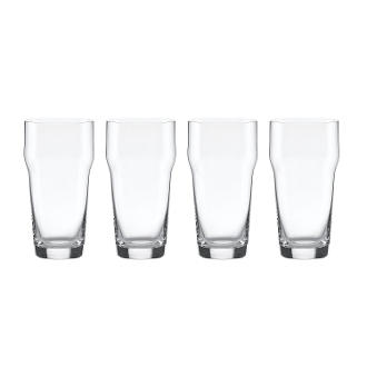 Tuscany Classics Craft Beer Glass with Crown, Clear, Set of 4