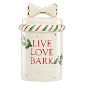 Holiday Pet Dog Treat Jar, Ivory
