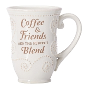 "French Perle ""COFFEE & FRIENDS"" Sentiment Mug, White"