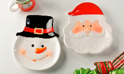 Santa and Snowman Cookie Plates, Choice of Two Designs