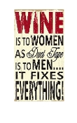 Wine Is To Women As Duct Tape Is To Men, Wall Sign.