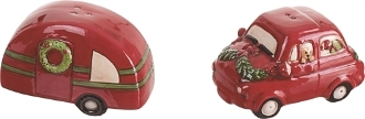 Camper and Car, Holiday Themed Salt and Pepper Shaker Set