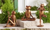 Yoga Frog Statues, Bronze Color