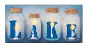 Lighted Canvas Art with Lit Jars Decorated with LAKE Letters