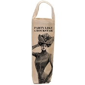 Cotton Canvas Wine Bottle Bag, Party Like A Rockstar