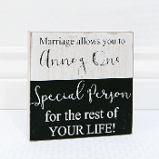 "Adams&Co 6"" x 6"" x 1.5"" wooden sign, (MARRIAGE ALLOWS YOU...)"