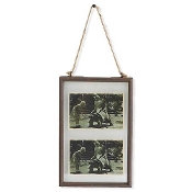 12.5 Inch Glass Vertical Double Picture Frame with Metal Trim