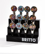 Romero Britto Zinc Wine Bottle Topper, 4 Separate Designs