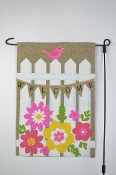 Welcome, Outdoor Burlap Garden Flag