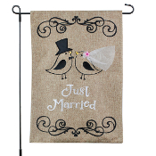 Just Married Birds Outdoor Burlap Flag