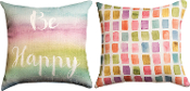 Be Happy, Rainbow Colored Paint Swatches Throw Pillow