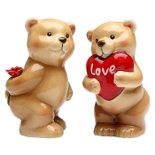 Valentines Day Heart Love Bear Salt and Pepper Shakers