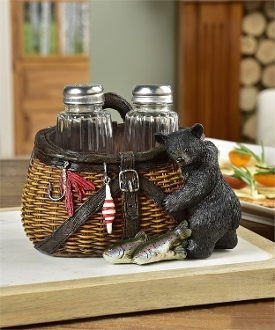 Bear and Tackle Box Design Salt and Pepper Shaker Set