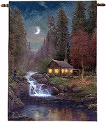 Wall Hanging-Away From It All-Fiber Optic Tapestry w / Remote