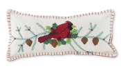 Rectangle White Felt Pillow with Cardinal