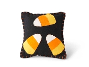 Black Felt Candy Corn Pillow w/ Orange Stitching