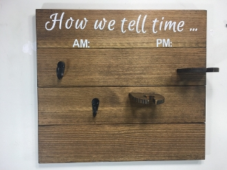 "Wooden Coffee/Wine Glass Rack ""How we tell time"" (Antique Walnut"
