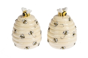 Kitchen Spring Decor Ceramic Bee Hive Salt and Pepper Shaker Set