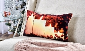 Fabric LED Lighted Candles with Holly Berries Pillow